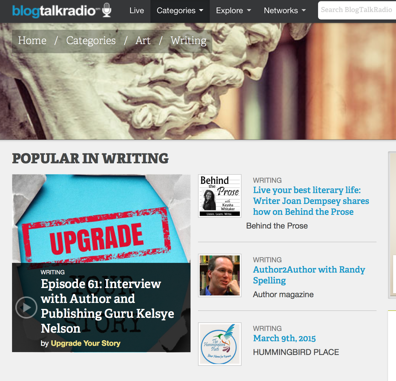 Joan Dempsey's Behind the Prose Episode is currently ranked #2 at BlogTalkRadio.com