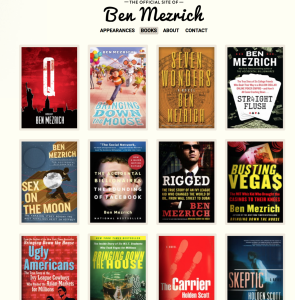 The books of Ben Mezrich, as pictured on his website.