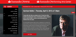 Garrison Keillor will appear at the Santander Area in Reading, PA on April 9.
