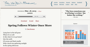 The Writer's Almanac is a five-minute daily podcast offering a wealth of literary this-day-in-history info.