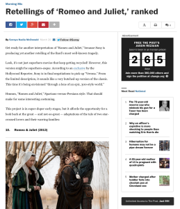 "A screenshot of McDonald's article ""Retellings of 'Romeo and Juliet' ranked. She's seen all ten of them. And not because she had to write the article."