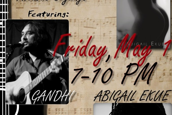 Gahndi and Abigail Ekue team up for erotic readings and acoustic stylings in Brooklyn, NY on 5/1.