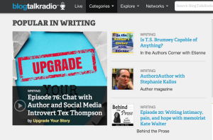 Kate Walter on episode 20 debuts at #4 in writing podcasts on BlogTalkRadio.