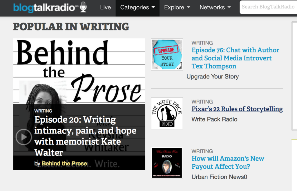 Kate Walter ranked #1 in writing podcasts on Blogtalkradio.