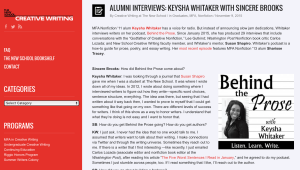 The New School Writing Program's Sincere Brooks interviews Keysha Whitaker.