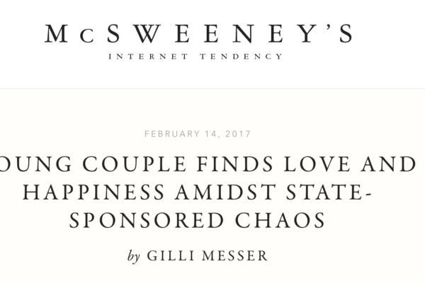 Screenshot of Messer's article on McSweeney's