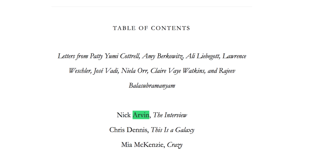 Nick Arvin's name is highlighted in issue 51 of McSweeney's.
