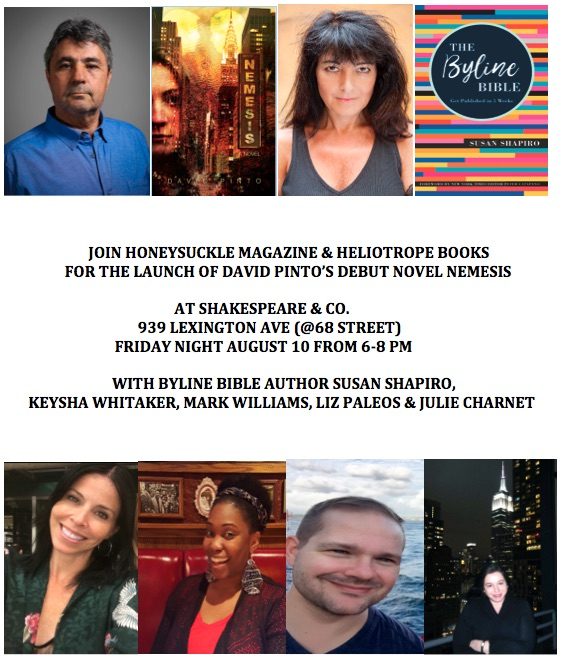NYC BYLINE BIBLE UPTOWN READING Friday August 10 from 6-8 pm at Shakespeare & Company 939 Lexington (@69 St.)