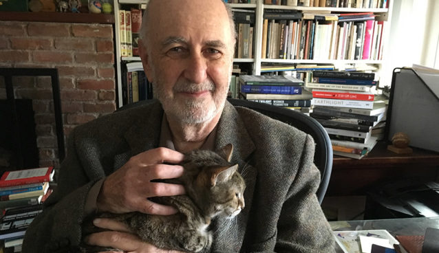 Author Phillip Lopate with his cat Tacey.